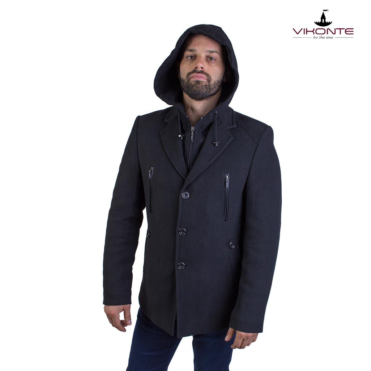 Зимно мъжко палто с качулка