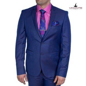 мъжки костюм син меланж