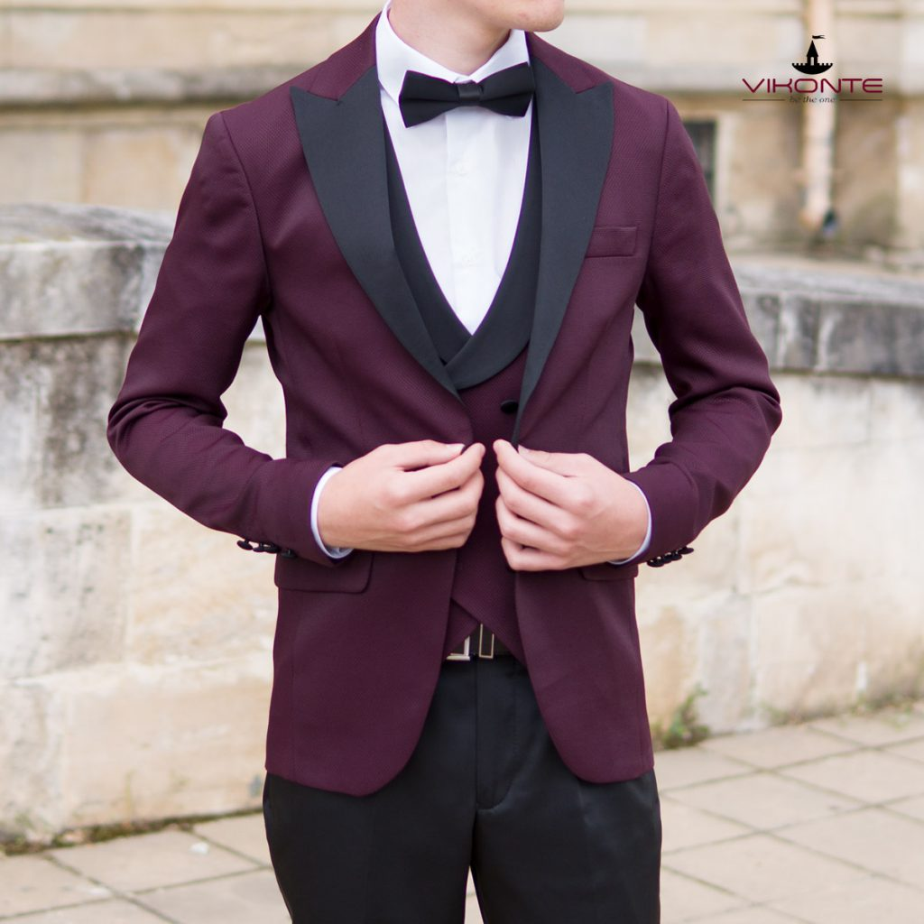 Мъжки костюм бордо с черно